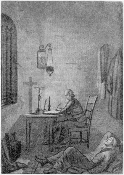 «Борис Годунов». В келье у Пимена. Гравюра С. Галактионова (1828 г.)