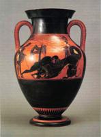 Геракл, убивающий Немейского льва. Чернофигурная ваза. Псиакс, около 525 г. до н.э.