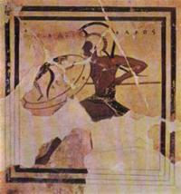 Живописная пинака Прекрасный Мегак. Терракота. Конец VI в. до н.э. Афины, Музей Акрополя