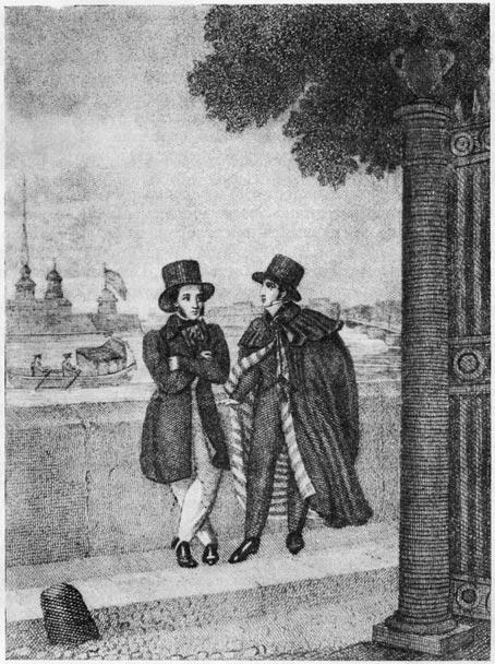 «Евгений Онегин». Пушкин и Онегин. Гравюра Е. Гейтмана по рисунку А. Нотбека (1829 г.)