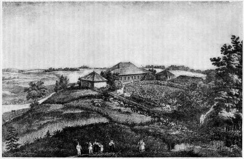 Село Михайловское. Литография Г. Александрова (1837 г.)