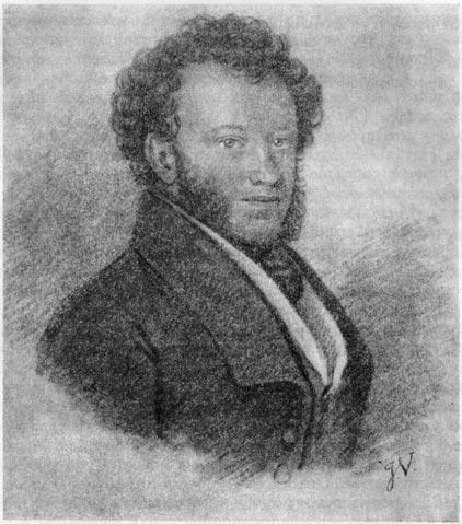 А. С. Пушкин. Рисунок Ж. Вивьена (1827 г.)