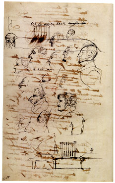 Рисунок Пушкина с изображениями виселицы с казненными декабристами