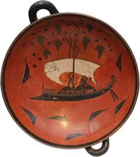 Дионис в ладье (Экзекий. Килик. II четверть VI в. до н.э. Мюнхен, Музей античного прикладного искусства)