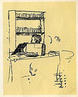 Рисунок на листе с перечнем пяти болдинских произведений