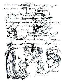 Рисунок А.С. Пушкина в рукописи плана поэмы об Олеге, 1821 г.