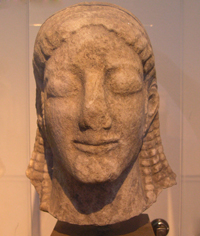 Курос из храма Аполлона Птооса в Беотии. VI в до н.э.