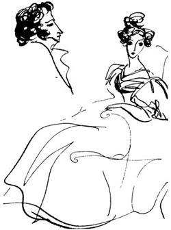 Пушкин и Наталья Гончарова, 1830 г