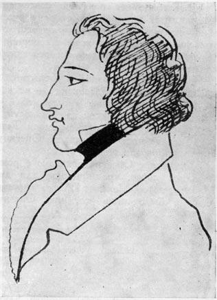 Ленский. Рисунок Пушкина на рукописи «Евгения Онегина»