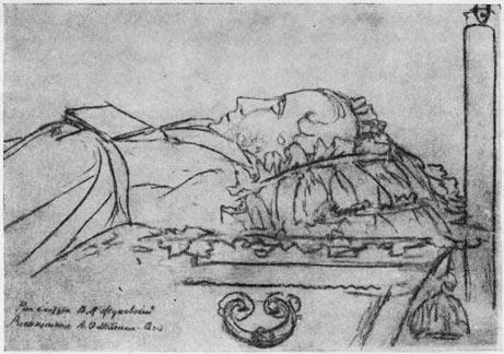 Пушкин в гробу. Рисунок В. А. Жуковского (1837 г.)