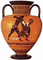 Ахилл убивает Пенфесилею. Эксекий. Амфора. VI в. до н.э.